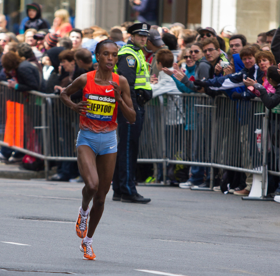 Rita Jeptoo of Kenya won her second Boston Marathon today, with an unofficial time of 2 hours 26 minutes and 25 seconds. Her past win was in 2006. (Photo by Micaela Bedell)
