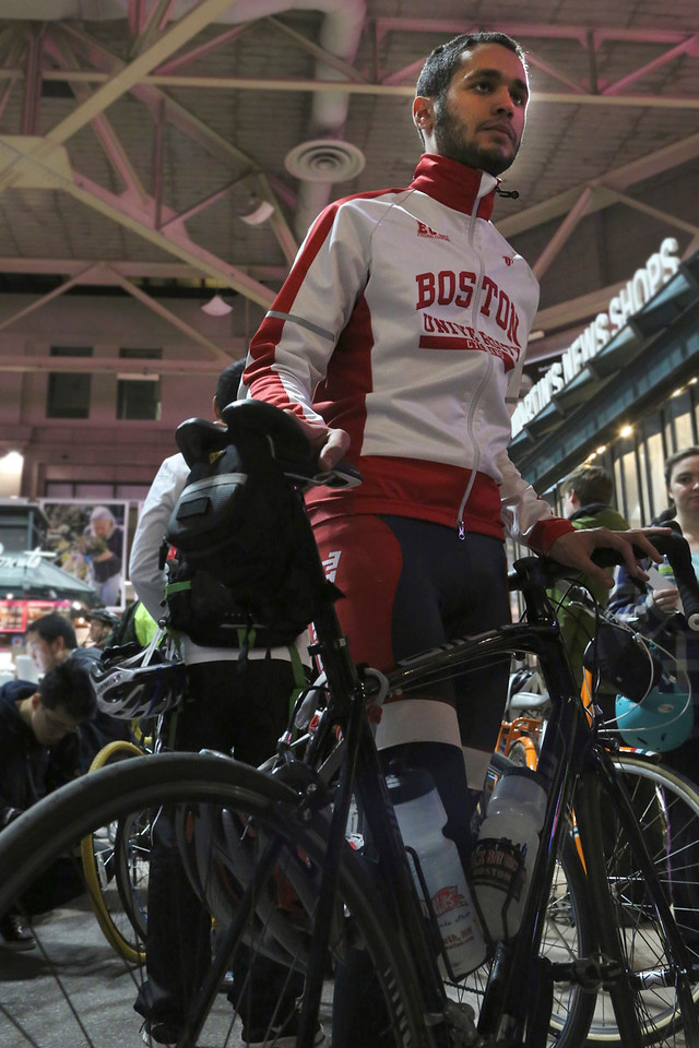 Boston, Mass. April 14- Patrick Hermann, a junior at Boston University, arrived at South Station to ride in the annual Midnight Marathon bike ride.  Hermann is a member of the Boston University cycling team and rode in the 2012 Midnight Marathon. He was one of over 700 cyclists to participate in this year's event, which began in Hopkinton, and ended at the finish line of the Boston Marathon in Copley Square.  Photo by Hannah Klarner/ Boston University News Service