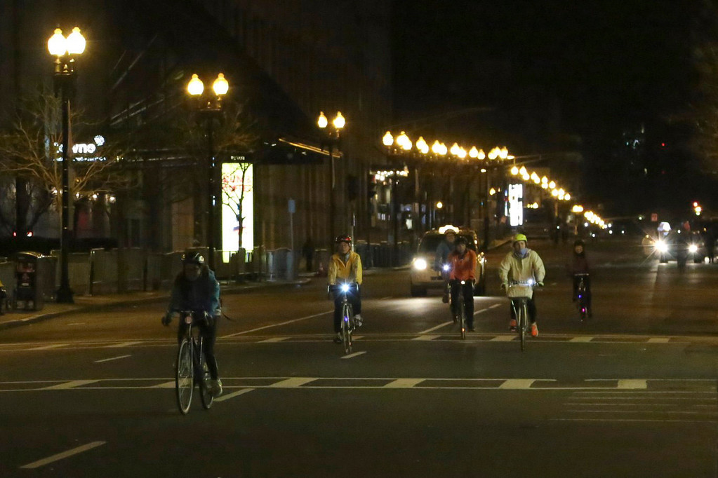 Boston, Mass. April 14-Participants in the annual Boston Midnight Bike Marathon ride down Boylston Street at 1 a.m. on their way to crossing the official finish line of the Boston Marathon.