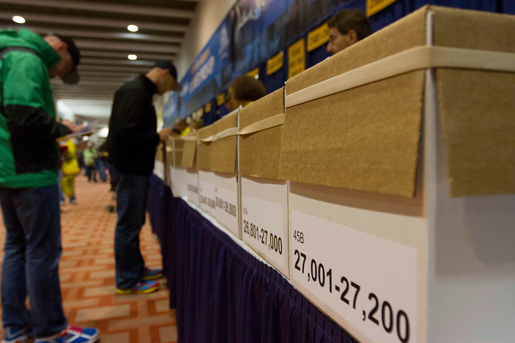 April 12th, 2013 – John B. Hynes Convention Center in Boston, MA is open to public for the 2013 John Hancock Sports & Fitness Expo and Boston Marathon Bib Number Pick-Up. There are 27,044 participants of this year's Marathon in total. Photo by Xiaolu Liu.