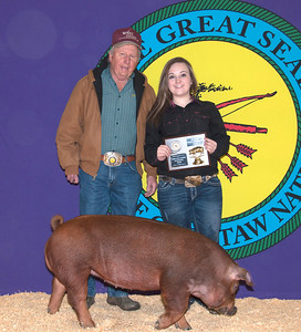 Macey Ross of Caddo wins Duroc Reserve Breed Champion