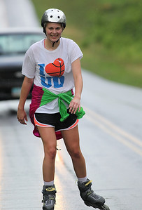 Tracy Moor of Avon Lake came in first for women in the Columbia Station half marathon run and skate. photo by Ray Riedel