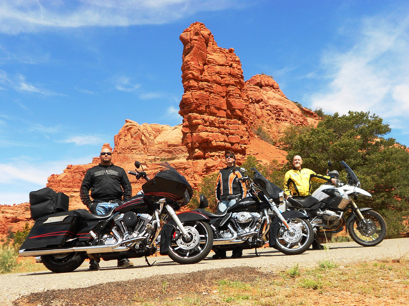 riding with friends Mark and Gin from Phoenix.  Photo along Hwy 13 to Shiprock.