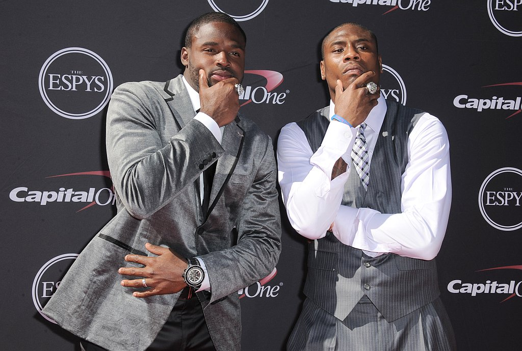 . Baltimore Ravens\' Torrey Smith, left, and Jacoby Jones arrive at the ESPY Awards on Wednesday, July 17, 2013, at Nokia Theater in Los Angeles. (Photo by Jordan Strauss/Invision/AP)