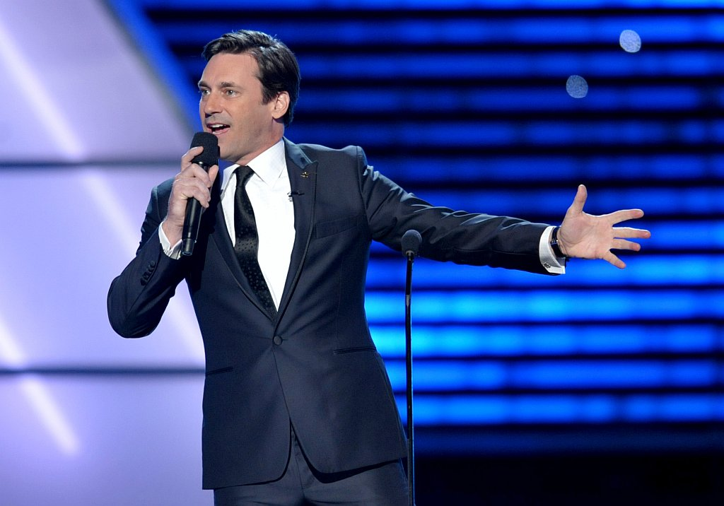 . Host Jon Hamm speaks on stage at the ESPY Awards on Wednesday, July 17, 2013, at the Nokia Theater in Los Angeles. (Photo by John Shearer/Invision/AP)