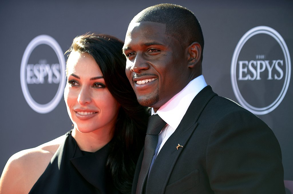 . Detroit Lions\' Reggie Bush, right, and Lilit Avagyan arrive at the ESPY Awards on Wednesday, July 17, 2013, at Nokia Theater in Los Angeles. (Photo by Jordan Strauss/Invision/AP)