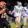 Gardner's Peter Gallant carries the ball during Friday night's game against Clinton.<br /> SENTINEL & ENTERPRISE / BRETT CRAWFORD