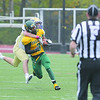 Fitchburg State Football team played Worcester State on Saturday at home. FSU's Tylor Wrice is nabbed by WSU #33 Mike Dance. SENTINEL & ENTERPRISE/ JOHN LOVE