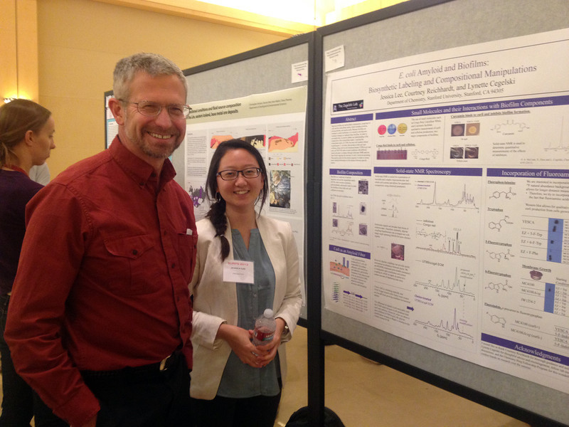 Jessica with Professor Chidsey at the Undergraduate Research Symposium<br /> October 2013