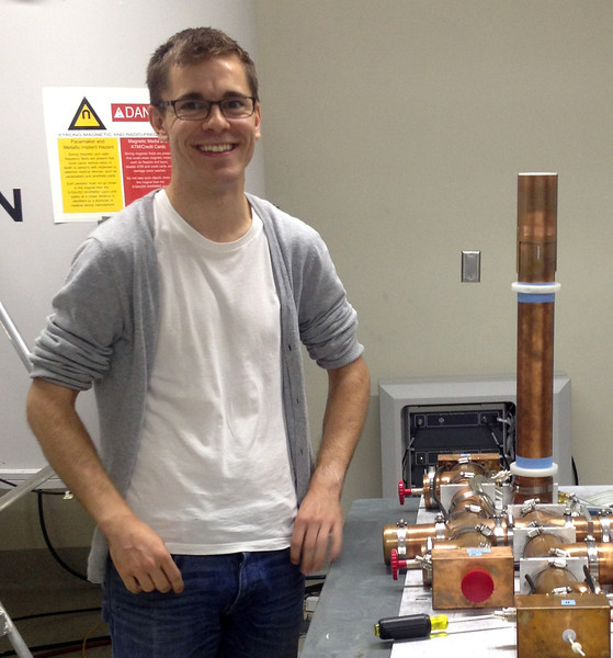 Joe is just learning how we tune up and disassemble and re-assemble our transmission line probes.<br /> Welcome to the NMR Lab, Joe!<br /> September 2013