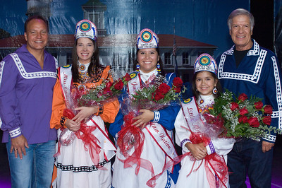 2013-14 Miss Choctaw Nation Callie Curnutt, Junior Miss Kayleigh Powell and Little Miss Isabelle Cox are crowned Aug. 29 by Chief Greg Pyle, right, and Assistant Chief Gary Batton.