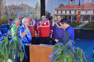 Chief Justice David Burrage swears in Delton Cox, Ted Dosh, Joe Coley, Anthony Dillard, Jack Austin and James Frazier for another 4-year term as Choctaw Tribal Councilmen.