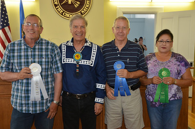 "Pottery: 1st Place: Dan Bernier, ""Old Bowl or New Home"" 2nd Place: Marsha Hedrick, ""Frog Bottle"" 3rd Place: Edmond Perkins Jr., Quawpaw Warrior Effigy Vase"" HM: Vangie Robinson, Choctaw Pony"