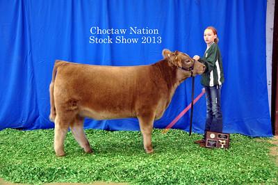Keyleigh Hilburn Walker of Quinton 4-H wins Heifer Breed Champion