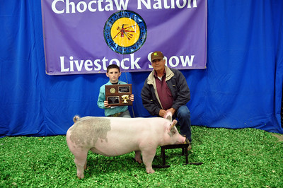 Daxton King of Hartshorne 4-H wins Cross Breed Champion and Market Swine Reserve Grand Champion