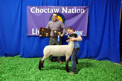 Taylor McGill of Tuttle 4-H wins Market Lamb Grand Champion and Division Champion