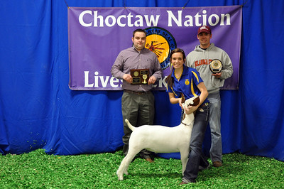 Emily Jackson of Hartshorne FFA wins Third Overall and Meat Goat Reserve Division Champion