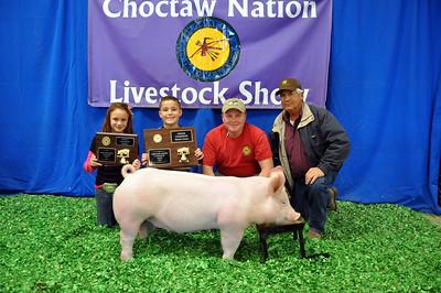 Braylon Spears of Hartshorne 4-H wins Market Swine Grand Champion and Yorkshire Breed Champion
