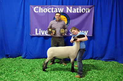 Taylor McGill of Tuttle 4-H wins Market Lamb Third Overall and Reserve Division Champion