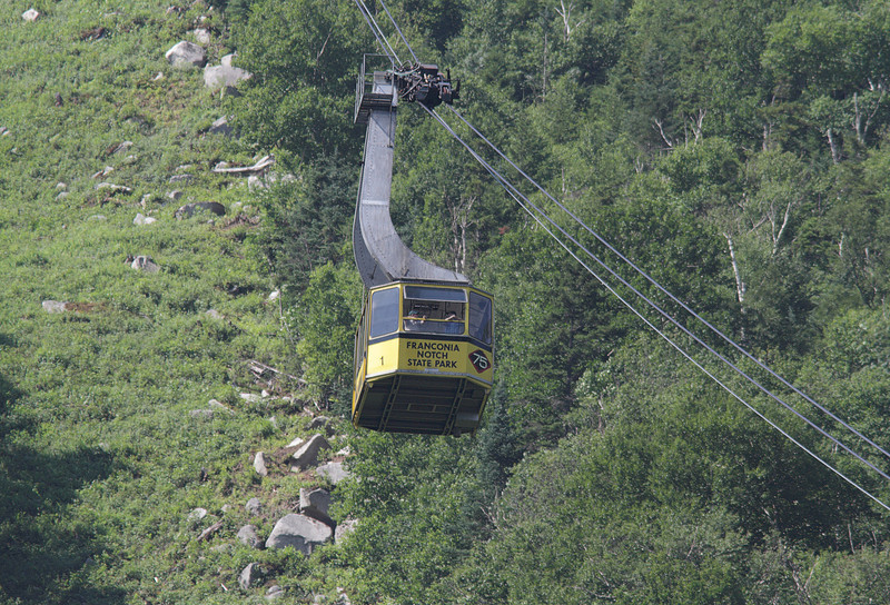 Cable car that takes you to the top of Cannon Mountain in Franconia Notch State Park, new Hampshire.  Looking but not finding the Bicknell's Thrush.