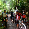 Mendocino Bikesprite tour guide Levi talking to the kids about our route!