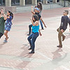 Dance group practices on U.C. Berkeley campus.