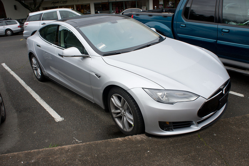 The new all-electric Tesla Model S, with a range of 300 miles. Mill Valley Plaza.