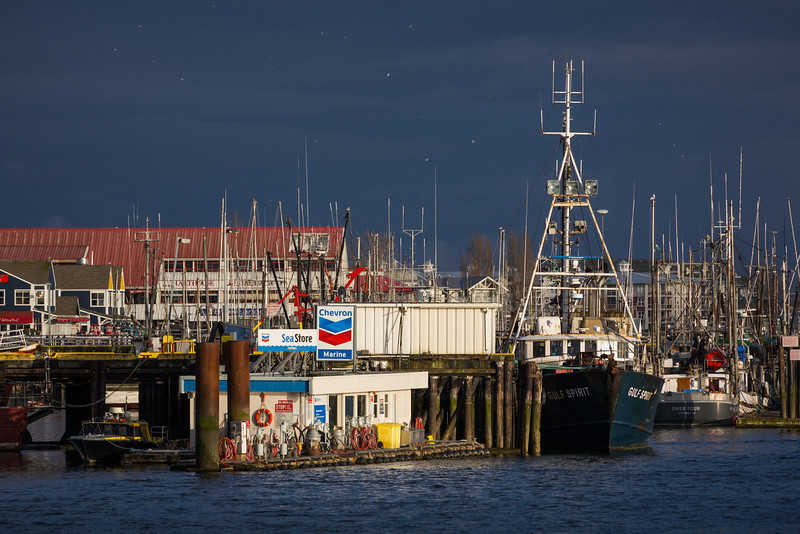 A break in the clouds shines the spotlight on Steveston.