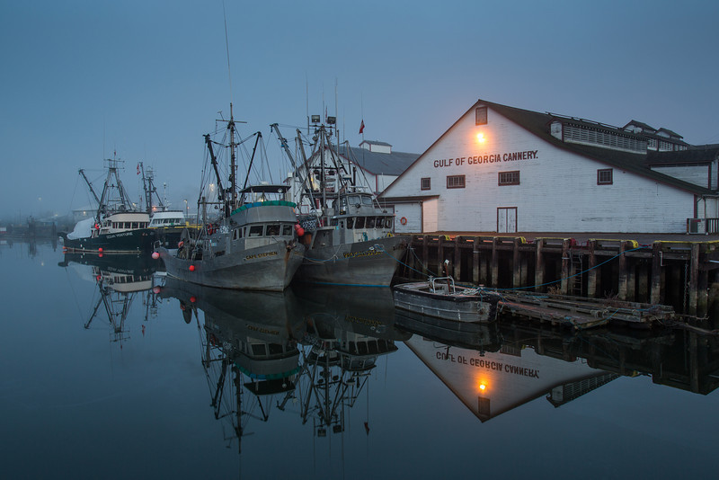 Foggy morning at the Gulf of Georgia Cannery in Richmond, British Columbia, Canada.