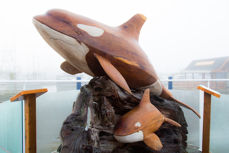 "The wood sculpture titled ""First Breath"" — an orca lifting up her baby for its first draw of air is carved from an 800-year-old Californian redwood."