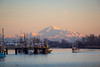 Mount Baker makes a beautiful backdrop for Steveston Harbour. Photo taken from Garry Point Park.