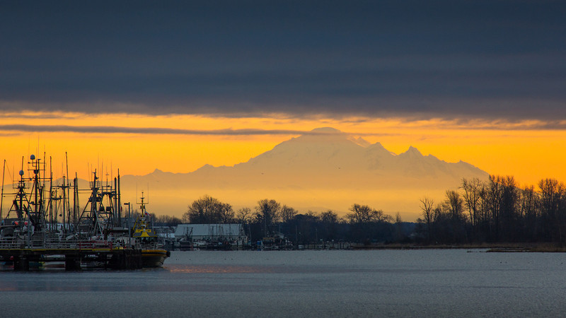 Sunrise in Steveston on a cold January morning.