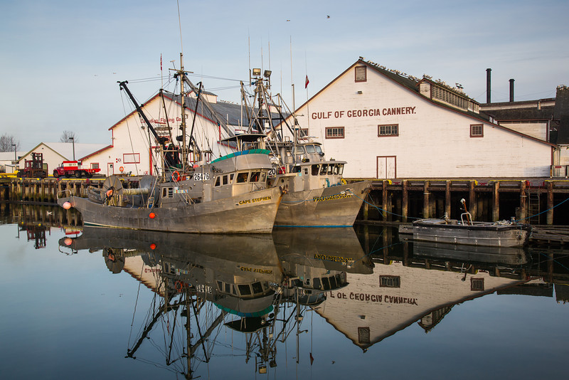 Fishing boats docked at the Gulf of Georgia Cannery in Richmond, British Columbia, Canada.