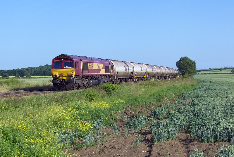 66019 is seen passing through Howsham with 6E82 1219 Colwick Sdg's - Lindsey Oil Refinery empty discharge tanks