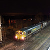 Freightliner Heavy Haul's 66526 ''Driver steve (George) Dunn'' is seen snaking out of  Barnetby Down Reception Siding's and is now about to cross onto the Down Goods line then Down Slow and then Down Main before crossing onto the Up Main and proceeding along the mainline to Immingham. The train 66526 is working is 4R37 1923 Barrow Hill URS - Immingham H.I.T. Empty HHA Coal hoppers.
