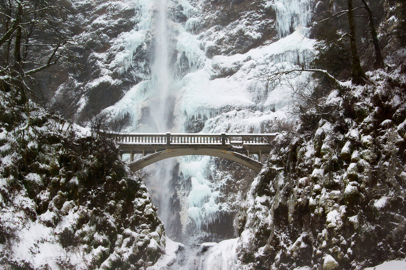 Multnomah Falls Bridge with Rock Damage