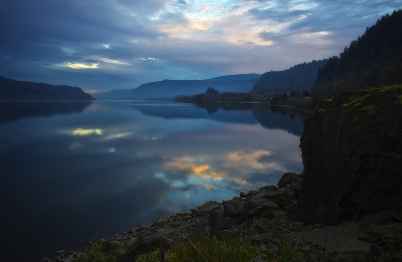 Columbia River Gorge at Dusk