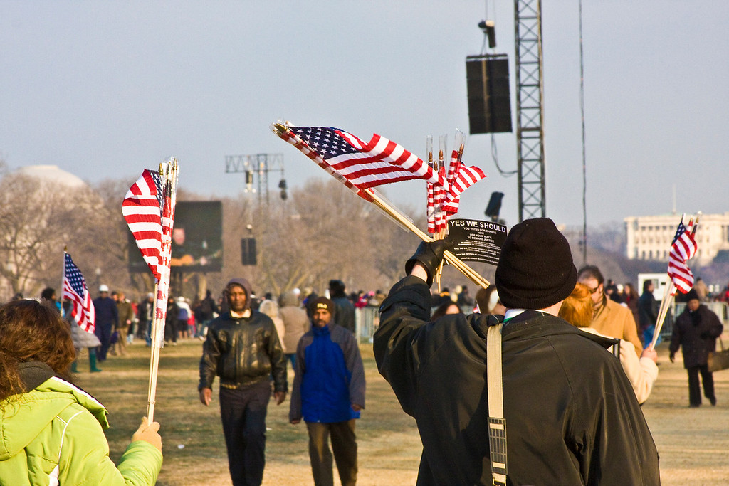 January 19, 2009 - Spectators gather on the National Mall in Washington, D.C. the day before the Inauguration of President Barack Obama. Photo by Billie Weiss.