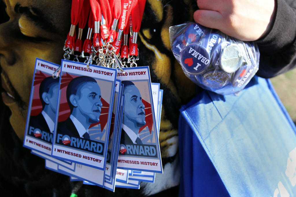 Unofficial President Obama memorabilia is on sale throughout Washington, D.C. on Sunday January 20 the day before Obama is inaugurated for the second and final time. (Michael Cummo/ BU News)