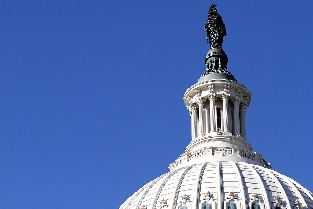 January 20, 2012 - The Statue of Freedom atop the Capitol Dome is shown during the day before the 57th Presidential Inauguration. This week marked the 150th anniversary of the statue's installation. Photo by Billie Weiss.