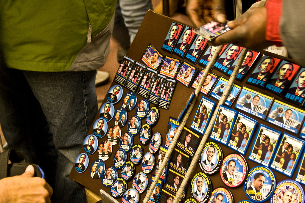 January 19, 2009 - Commemorative pins and magnets are shown in Washington, D.C. the day before the Inauguration of President Barack Obama. Photo by Billie Weiss.