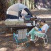 Jane Mohn and the camping set up.