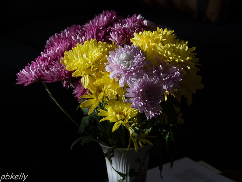 March 8.  The sun was shining in the window on this fading bouquet.