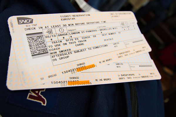 Tickets to the Eurostar train that would take us to Brussells.