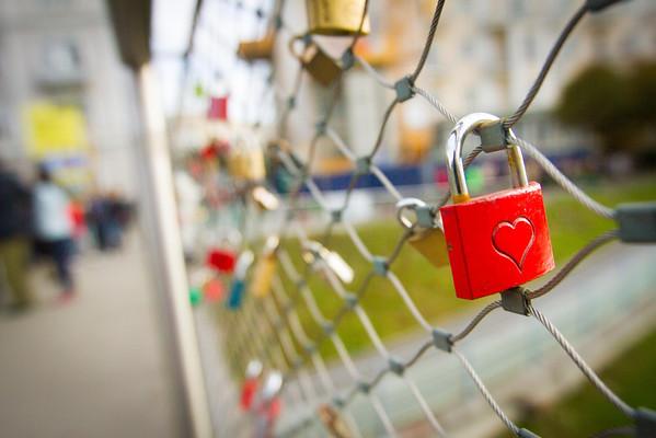 Salzburg City Tour - A common lock found along the bridge.