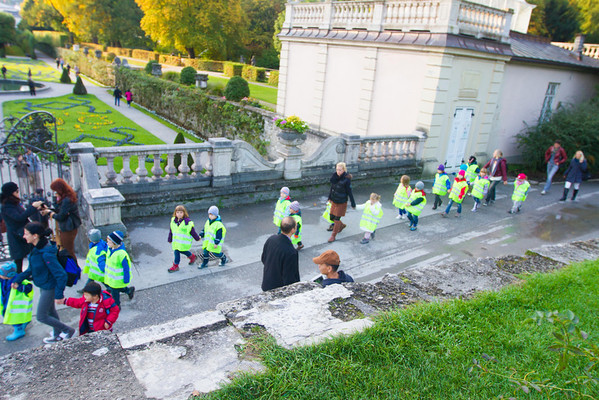 Salzburg Mirabell Gardens (where The Sound of Music was filmed) - The kids wear these hideous high vis vests.