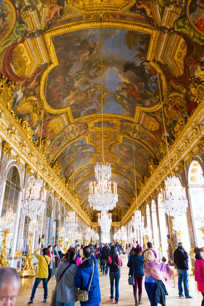 The hall of mirrors at Versailles Palace.