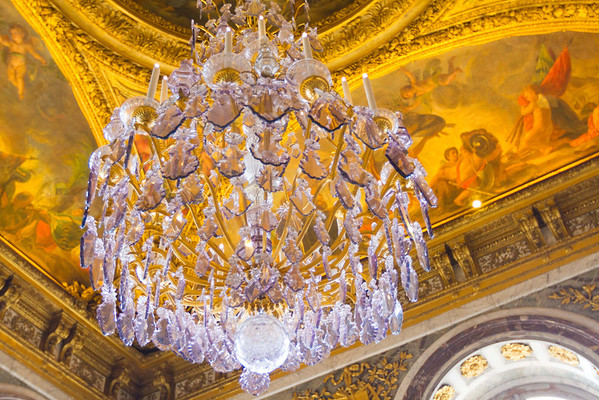 The other original lead crystal chandelier in the Hall of Mirrors.