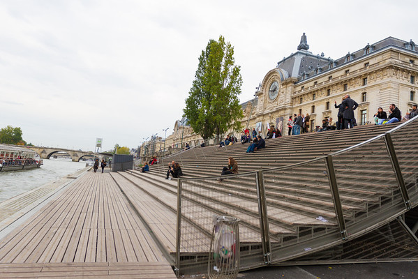 9/20/2013: Walking along the Seine River. Large bleachers to sit down and watch the water/boats go by as well as the day.