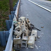 4/17/2013: Northbound ramp from Washington Blvd to Southwestern Blvd in Halethorpe, Baltimore County. 200 lbs of cinder blocks tossed over the guardrail. Reported to State Highway Administration for pickup.